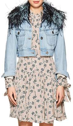 Prada Women's Feather-Trimmed Denim Crop Jacket