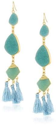 Panacea Womens Faux Drusy Tassel Earrings