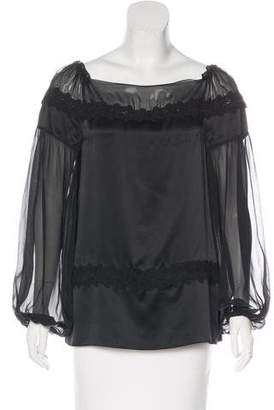 Philosophy di Alberta Ferretti Lace-Trimmed Silk Blouse