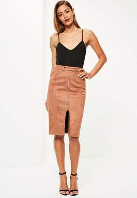 Missguided Brown faux suede tab detail zip front midi skirt
