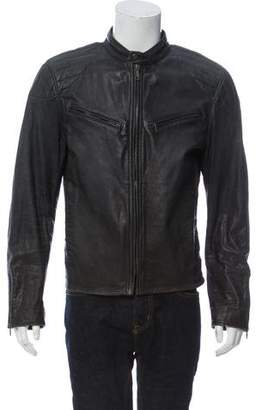 Ralph Lauren Black Label Zip-Up Leather Cafe Racer Jacket