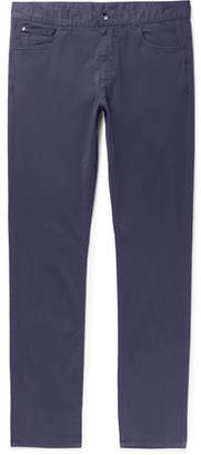 Canali Slim-fit Stretch-cotton Twill Chinos - Navy