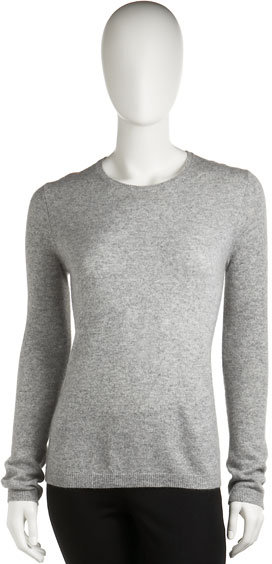 Neiman Marcus Cashmere Crewneck Sweater, Gray