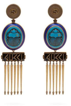 Gucci Gg Scarab And Tassel Drop Clip On Earrings - Womens - Blue