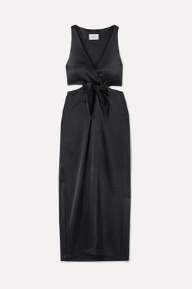 Nanushka - Regina Tie-front Cutout Satin Midi Dress - Black