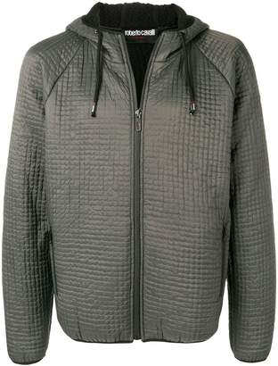 Roberto Cavalli textured hooded jacket