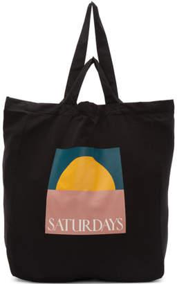 Saturdays NYC Black Dual Handle Sunset Tote