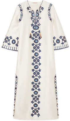 Tory Burch Ariana Embellished Silk And Cotton-blend Maxi Dress