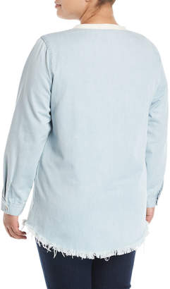 Glamorous Lace-Up Chambray Blouse, Plus Size