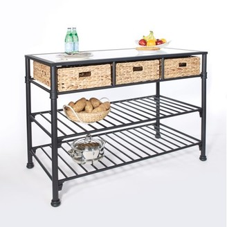Osp Home Furnishings Inspired by Bassett Paula Kitchen Island with Faux White Marble Top and Black Frame with Natural Woven Baskets, No Tool
