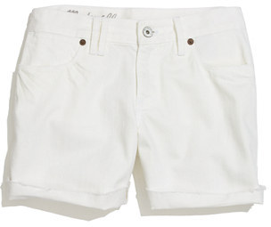 Madewell Denim Midi Shorts in White Wash