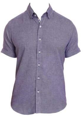 Robert Graham Men's Liam Houndstooth Short-Sleeve Button-Down Shirt - Teal - Size Small