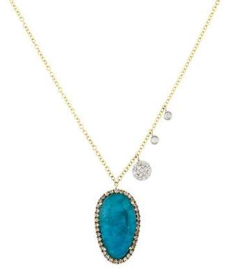 Meira T 14K Apatite Quartz Doublet & Diamond Pendant Necklace