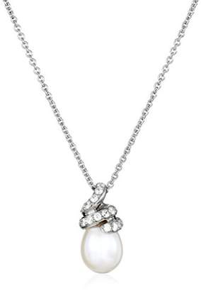 Swarovski Sterling Silver 9-10mm Oval Drop Freshwater Cultured Pearl and Zirconia Pendant Necklace