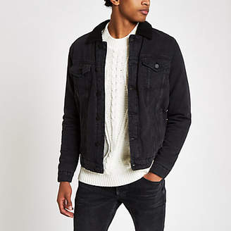 River Island Only and Sons black shearling denim jacket