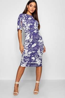 boohoo Spot Floral Split Sleeve Wiggle Midi Dress