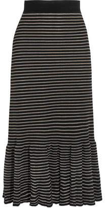 Sonia Rykiel Metallic Striped Cotton-blend Midi Skirt - Black