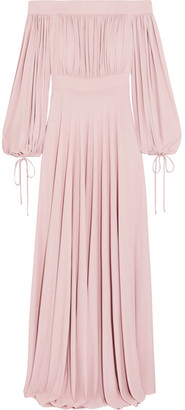 Alexander McQueen - Off-the-shoulder Gathered Jersey Gown - Pastel pink $3,545 thestylecure.com