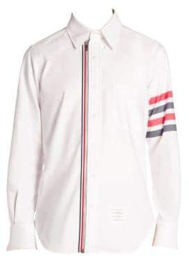 Thom Browne Stripe-Trim Zip Front Button Down Shirt