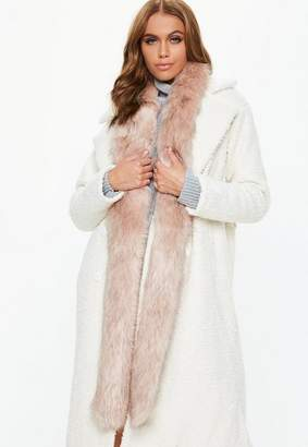 Missguided Blush Faux Fur Extra Long Scarf
