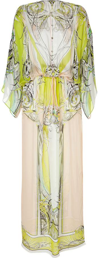 Roberto Cavalli Printed Silk Maxi Dress in Yellow/Pink-Multi