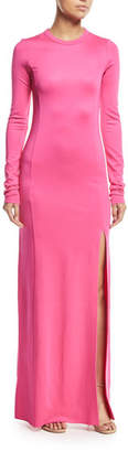 Elizabeth and James Fallon Crewneck Long-Sleeve Gown w/ High Slit