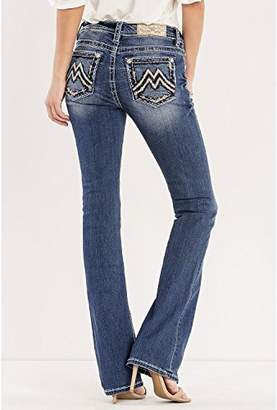Miss Me Junior's Mid-Rise Stretch Boot Cut Jeans With Abstract M Embroidery