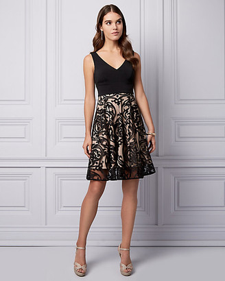 Le Château Paisley Print Burnout Knit Cocktail Dress