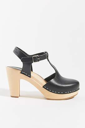 Swedish Hasbeens T-Strap Sky High Clog Sandals