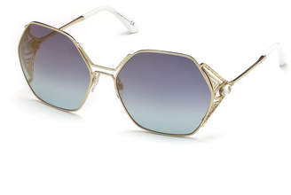 Roberto Cavalli Hexagon Gradient Metal Sunglasses, Blue