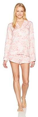 Mae Women's Sleepwear Notch Collar Long Sleeve and Short Pajama Set