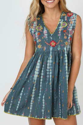 Natural Life Embroidered Tie-Dye Dress