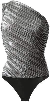 one shoulder metallic pleated bodysuit