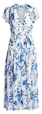 ML Monique Lhuillier Women's Floral Flutter-Sleeve Midi Dress - Size 0