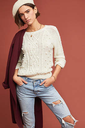 Cupcakes And Cashmere Pommed Cable-Knit Sweater