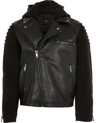 River Island Boys jersey sleeve faux leather biker jacket