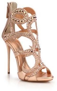 Giuseppe Zanotti Crystal-Embellished Metallic Leather Sandals $2,195 thestylecure.com