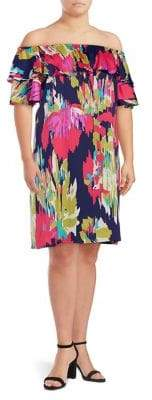 London Times Plus Ruffled Off-The-Shoulder Dress