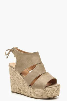 1ad372be197 boohoo Cut Work Detail Espadrille Wedges