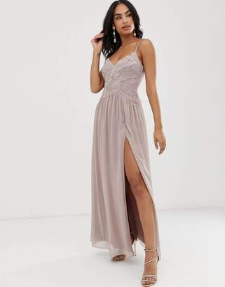 Little Mistress cami strap fitted lace bodice maxi dress