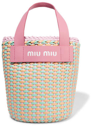Miu Miu Leather-trimmed Faux Leather Woven Tote - Pink