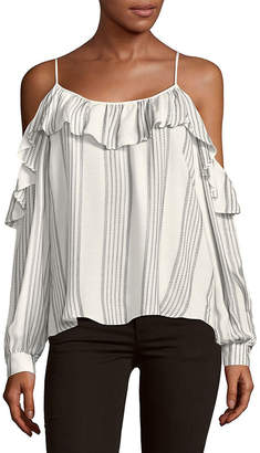 Parker Ruffle Cold-Shoulder Stripe Top