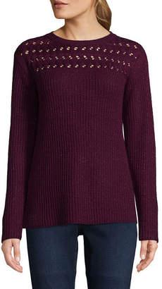 ST. JOHN'S BAY Pointelle Yoke Sweater - Tall