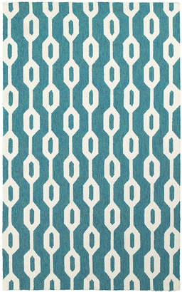 """Tommy Bahama Home Atrium Indoor/Outdoor 51102 Blue/Ivory 3'6"""" x 5'6"""" Area Rug"""