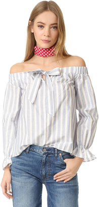 ENGLISH FACTORY Stripe Off Shoulder Top $84 thestylecure.com