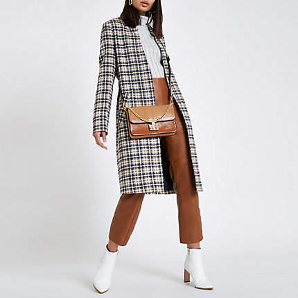 Womens Cream check knit longline coat