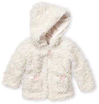 American Widgeon (Toddler Girls) Ivory Pretty Bow Faux Fur Coat