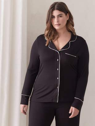 Tailored Pajama Shirt with Piping Detail - Deesse Collection