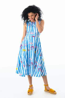 Emily And Fin Jasmine Salvation Floral Stripe Midi Dress - 14 - Blue/White/Pink