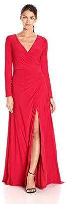Mac Duggal Women's Long Sleeve Gown With V-Neckline